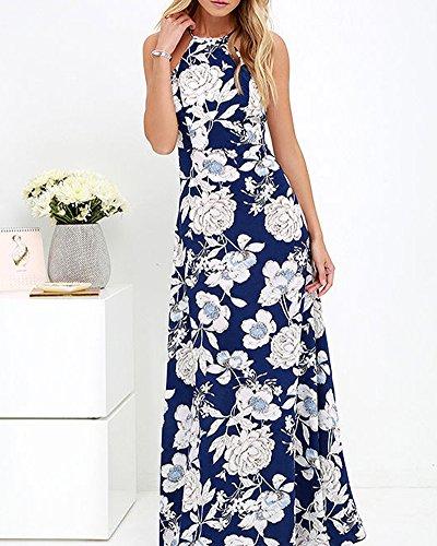 Femmes Robe imprimé floral à sans manches robe bustier longue section Evening Dress Flower