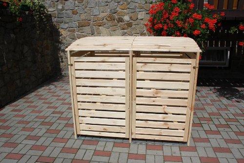 Mülltonnenhaus für zwei 240 Liter Tonnen in Holz natur