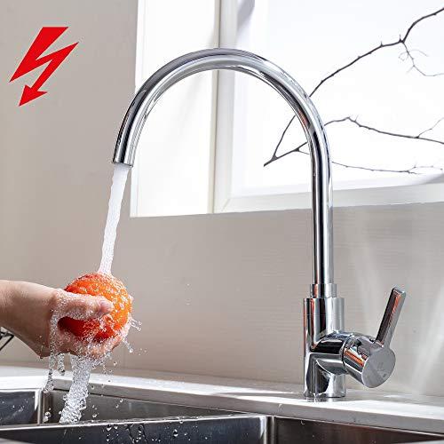 HOMELODY 360° Drehbar Niederdruckarmatur Küche Aus Messing Wasserhahn  Spültischarmatur Küchenarmatur Mischbatterie Spülbecken Küchenspüle  Einhebelmischer ...