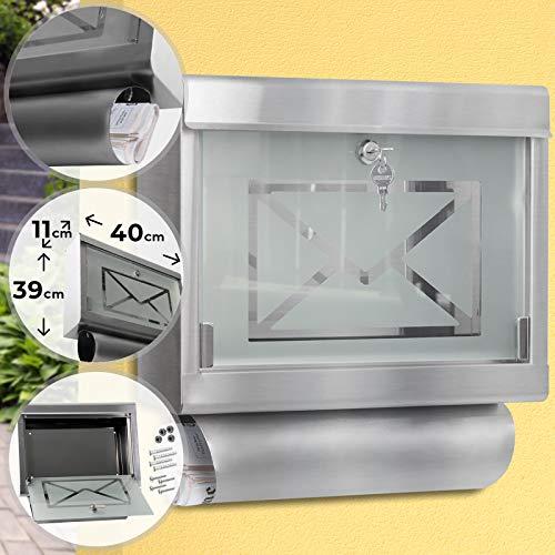 Wandbriefkasten mit Glasfront und Zeitungsröhre | aus Edelstahl und Glas, 40/11/39 cm, Zylinderschloss mit 2 Schlüsseln, Silber | Briefkasten, Postkasten, Mailbox, Letterbox