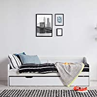 VonHaus Wooden Day Bed with Pullout Trundle - Stylish 3FT Single Solid Pine Bed with Under Bed - Sturdy Bedroom Furniture (Mattresses not included)