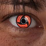 aricona Kontaktlinsen Sharingan Kontaktlinse Uchiha -Deckende,farbige Jahreslinsen für dunkle und helle Augenfarben ohne Stärke,Farblinsen für Cosplay,Karneval, Motto-Partys und Halloween Kostüme