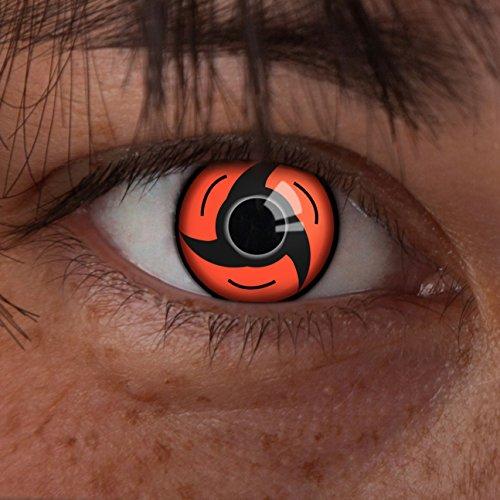 (aricona Kontaktlinsen Sharingan Kontaktlinse Uchiha -Deckende,farbige Jahreslinsen für dunkle und helle Augenfarben ohne Stärke,Farblinsen für Cosplay,Karneval, Motto-Partys und Halloween Kostüme)