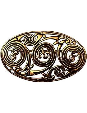 Keltische Brosche mit Spiralmuster, aus Bronze Gewandschließe Mystische Brosche Wikinger Gewandschmuck Fibel LARP