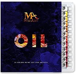 MozArt Supplies Coffret de Peinture à l'Huile - Idéal pour Les débutants et Les Artistes confirmés -24 Tubes de Peinture 12 ML Non Toxiques à Pigmentation élevée Adapté à la Peinture Huile sur Toile