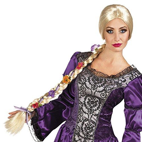 Rapunzel Perücke blond mit Blumen langer geflochtener Zopf Märchen-Kostüm