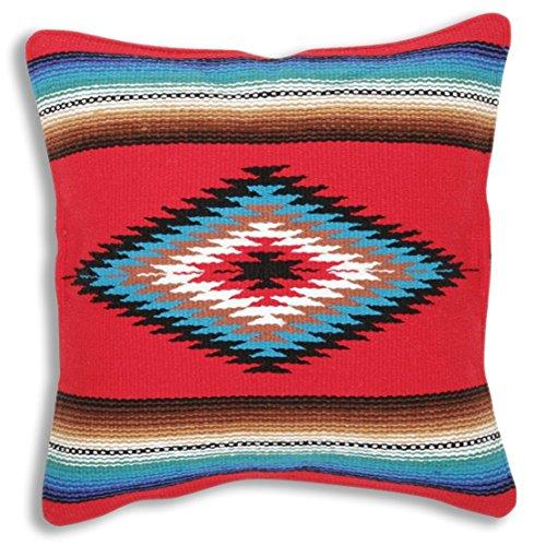 SARAPE Überwurf Kissen, 18x 18, Hand gewebt in Southwest und native american Styles., Synthetisch, Style 17 Red Hot, 45,7 x 45,7 cm Native American Indian Cover