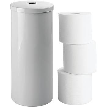 GroBartig MDesign Freistehender Papierrollenhalter U2013 Moderner Toilettenpapierhalter  Stehend Fürs Badezimmer U2013 Dezenter Klopapierhalter Mit Deckel Aus  Kunststoff U2013 ...