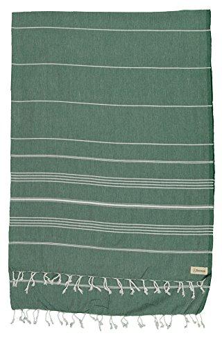 Bersuse 100% Baumwolle - Anatolia XL Decke Türkisches Handtuch - Mehrzweck Bett- oder Sofa-Überwurf, Tischdecke oder als Picknickdecke - Badestrand Fouta Peshtemal - Klassisches gestreiftes Pestemal - 155 X 210 cm, Waldgrün