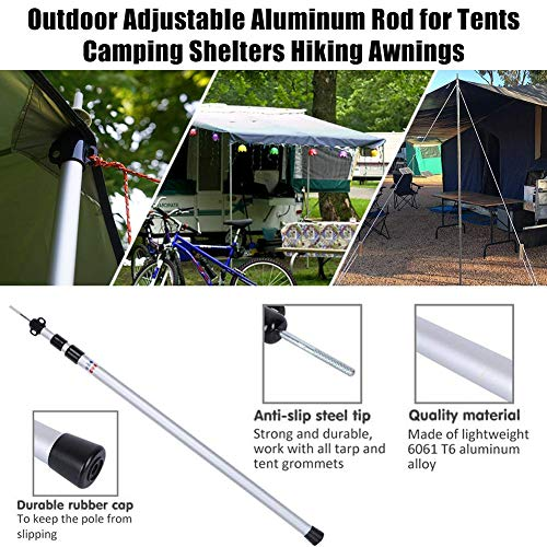 Ausziehbare Zeltstangen Outdoor Rod Teleskopstange für Markise, Camping, Shelter, Wandern, Angeln Strand Picknick