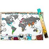 Rascar Mapa Deluxe Mapa del Mundo, aluminio, color blanco