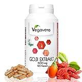 Extracto de Bayas de Goji de Vegavero | Superalimento | Antioxidante + Colesterol + Energía + Metabolismo + Sistema inmunitario | 120 cápsulas | Producto alemán | Instrucciones en español | Vegano, sin gluten