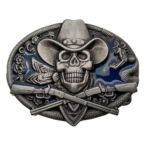 YONE Hebilla de cinturón Western Cowboy Skull Pirate Rifles Belt Buckle Azul