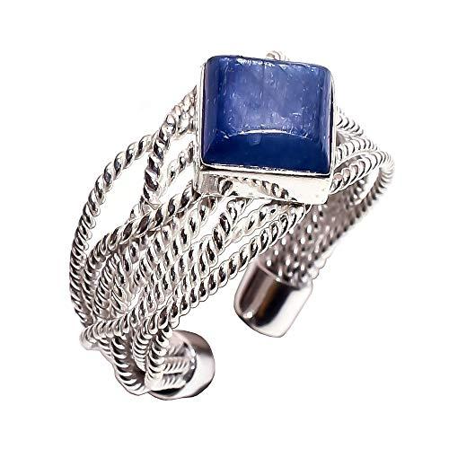 Anello da donna in argento sterling 925, con pietra naturale di cianite blu, cr4672