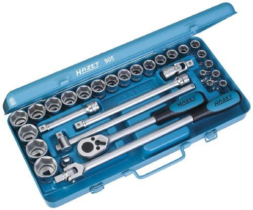 HAZET Steckschlüssel-Satz (Vierkant 12,5 mm (1/2 Zoll), 30 Einzelteile, mit HAZET Umschaltknarre 916SP, stabiler Metallkasten) 905