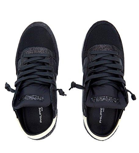 Sneaker Philippe Model Tropez in pelle nera e glitter Nero