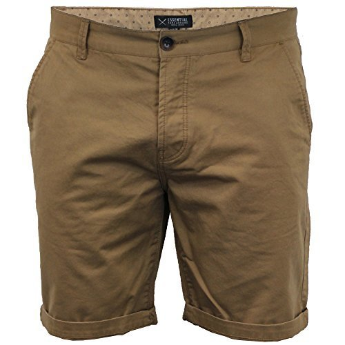 Herren Chino Shorts Threadbare Hose Baumwolle Knielange Aufrollen Freizeit  Sommer Neu - Hellbraun - SMW015PKC,