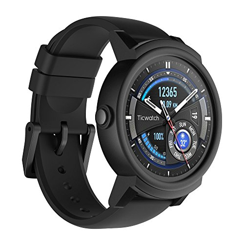 Ticwatch E Most Comfortable Smartwatch-Shadow, 1.4 inch OLED Display, Android Wear 2.0 Compatible with iOS and Android, Google Assistant