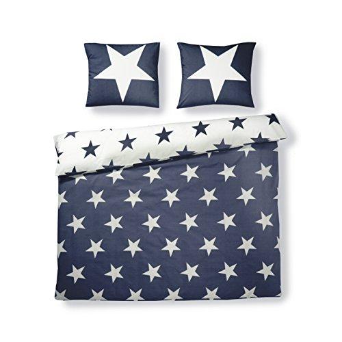 Aminata Kids Kinder-Bettwäsche-Set Sterne 135-x-200-cm | Jungen, Mädchen | Teenager-Wende-Bettwäsche Stern aus 100-% Baumwolle | blau, weiß | Marken-Reißverschluss & Öko-Tex -
