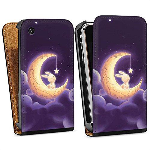 Apple iPhone 5s Housse Étui Protection Coque Levraut Lune Lune Sac Downflip noir