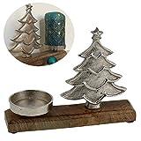 LS-LebenStil Holz Kerzenständer Tannenbaum 1-fach 23cm Alu Stumpenkerze XL Teelichter