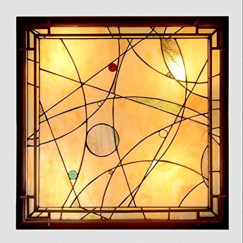 LED-Deckenleuchte Tiffany Style Square Victoria Deckenleuchte für Deckeneinbau Handgefertigter bunter Kronleuchter 24 Zoll (2 Style),B