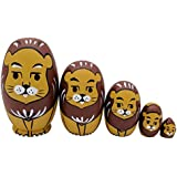 Cute Egg Shape Animal Theme Mini Lion Handmade Wooden Russian Nesting Dolls Matryoshka Dolls For Kids Toy Christmas Birthday Gift-Set Of 5 Pieces