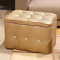 Preisvergleich für Yuan Polsterhocker Leder-Diamant-Speicher-Schemel-Schuh-Bank-Foyer-Sofa-Schemel-Wohnzimmer-Schlafzimmer-Schminktisch-Einkaufszentrum-Schuh-Speicher-Schemel Kann Waschbar Sein/Hocker