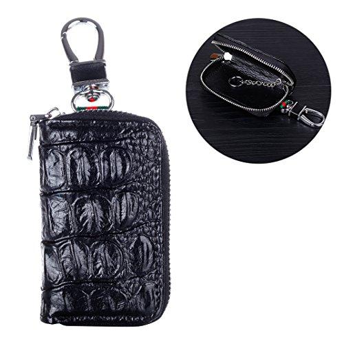 Auto Schlüssel Tasche, Rosa Schleife Damen Ledertasche Auto Schlüssel Etui Leder Reißverschluss Geldbörse Key Case Schlüssel Kaste Schwarz
