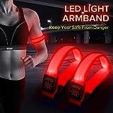LED cinta de correr-brilla en la oscuridad-Alta visibilidad nocturna seguridad bofetada brazalete para correr, ciclismo, caminar, correr, ciclismo por BSeen-2Paquetes, Rojo