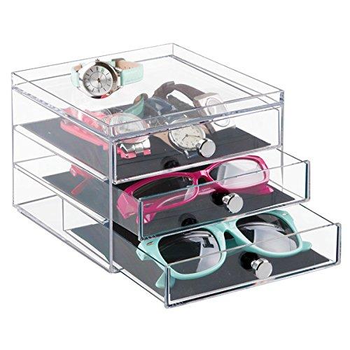 mDesign Aufbewahrungsbox für Brillen - praktische Brillenablage für Brillenaufbewahrung - mehrere Brillen Finden in 3 Schubladen perfekt Platz - Kunststoff & Griffe mit Chrom-Finish