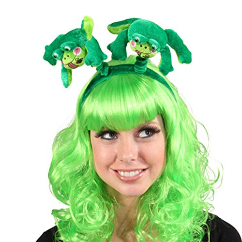 NET TOYS Origineller Frosch-Haarreif für Frauen | Grün | Niedliches Damen-Accessoire Kröte | Ideal für Straßenkarneval & Fasching (Kermit Der Frosch Kostüme Für Erwachsene)