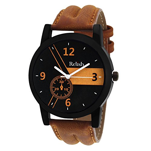 Relish Casual Analogue Tan Leather Strap Multicolour Dial Men\'s Watch RELISH-542
