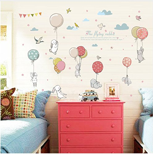 Mddjj Cartoon Cute Balloon Flying Rabbit Wall Stickers for Kids Room Party Decoration Bird and Cloud Pattern Furniture for Living Room