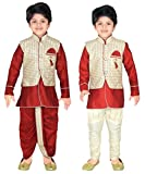 #5: ahhaaaa Kids Indian Ethnic Waistcoat, Kurta, Breaches and Dhoti Pant Set for Boys_416