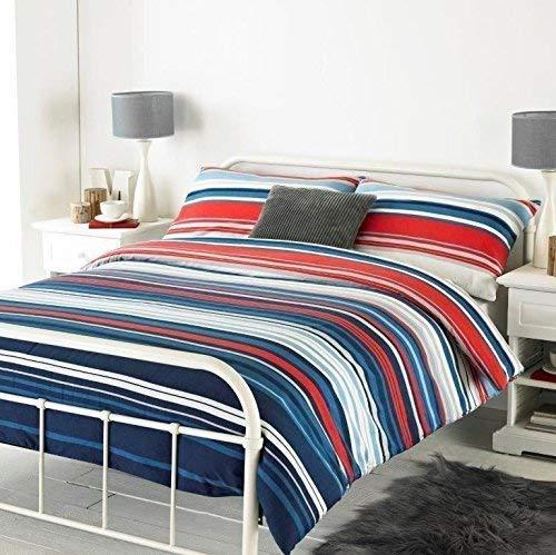 Horizontal Bewertet Gestreift Blau Gebürstete Baumwolle Doppel (Uni Marineblau Passendes Leintuch - 137 X 191cm + 25) 4 Teile Bettwäsche Set