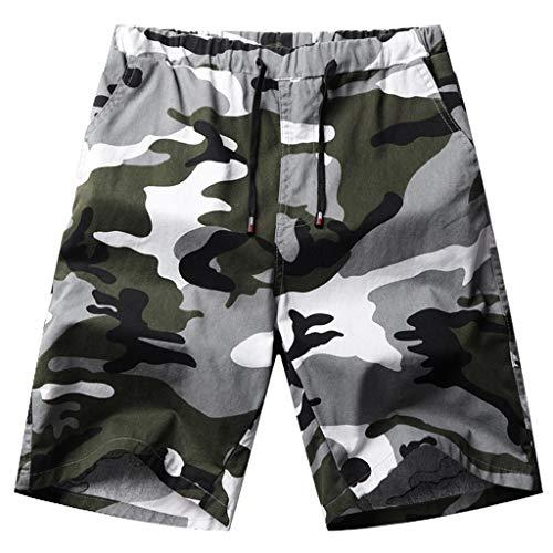 Dasongff Herren Shorts Kurze Camo Hosen Camouflage Cargo Shorts Leinen-Shorts Classics Vintage Kurz Freizeithose Regular Fit Militär Kurz Hose M-5XL (Stone Cargo Camo Short)