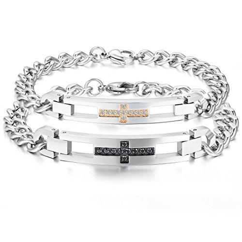 Oidea bracciale braccialetto per coppia lovers braccialetto in acciaio inox croce cristiano mosaico zircone regalo per amante nero oro (1 coppia)