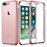 Coque iPhone 7Plus, KKtick TPU Silicone Clair Transparente Bumper Cover [Placage des chocs Technologie] Soft Housse Etui Protection Case pour iPhone 7 Plus(Rose)