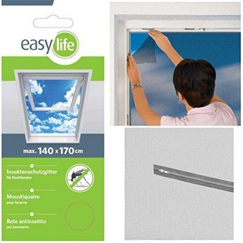 Easy Life Malla mosquitera Ventanas de Techo 140 x 170 cm - Mosquitera con Cremallera y 5,6 m de Velcro - Perfecta, Sencilla y Rápida Protección contra los Mosquitos, Color Antracita