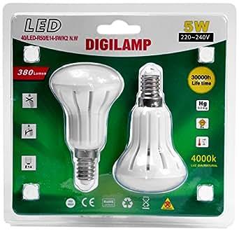 Digilamp 40/LED-R50/E14/K2-NW Ampoule LED 380 Lumen 4000K 5 W [Classe énergétique a+]