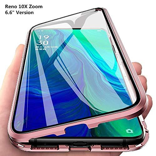 JUNHENG Kompatibel Mit Oppo Reno 10X Zoom Oppo Reno 5G Hülle Magnetische Adsorption Tech Handyhülle Vorne hinten Gehärtetes Glas Design Starke Magneten Stoßfest Metall Flip Cover, Pink Zoom Port Body