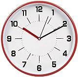 HITOTM - Orologio a parete silenzioso, senza ticchettio, con cornice in metallo e copertura in vetro, alta qualità, diametro: 30 cm rosso