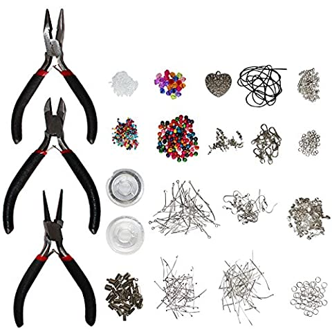 1000 Piece Jewellery Making Findings Supplies Kit with Pliers by Kurtzy - Silver Plated Starter Set - Craft Wire, Hoops for Pendants, Plier Set, Cutting Tool, Beads and More - Massive Accessories Kit