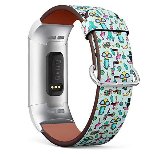 Art-Strap Kompatibel mit Fitbit Charge 3 / Charge 3 SE - Uhrenarmband Ersatzarmbänder Lederarmband mit Edelstahl-Verschluss und Adapter (Fashion Patch Abzeichen) - Leo-abzeichen