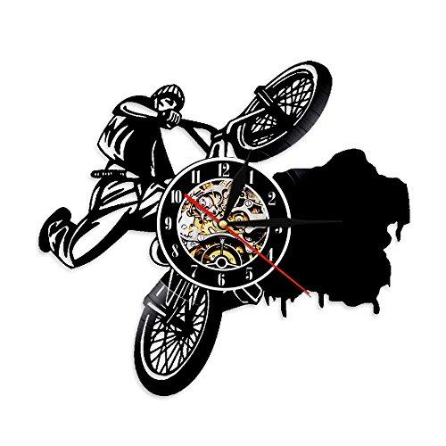 ZJWZ 1 Piece Riding Bikes BMX Sports Uhren Dirt Bike Track Racks Vinyl Record Wall Clock Fahrrad Wandkunstdekor für Wohnzimmer
