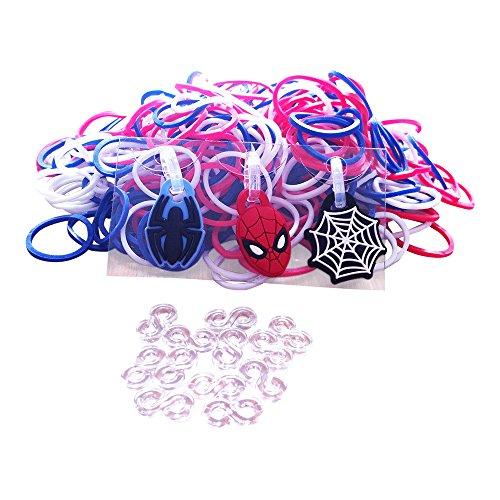 Neueste Mode. Loom-ArmbŠnder. Spider Man Loom Band-Kit mit 12-Steckverbinder und 3 Charms