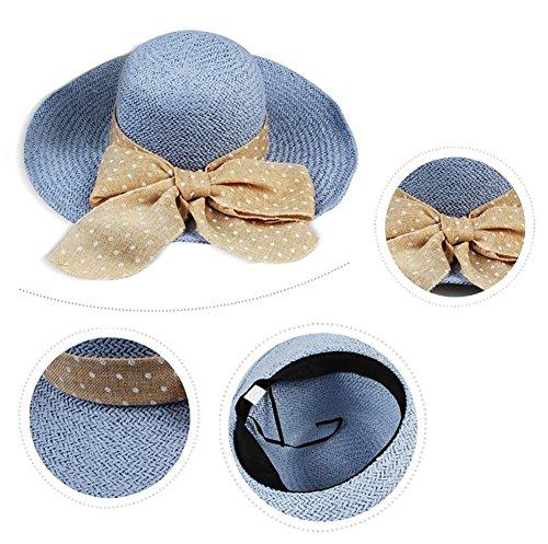 HWTYM Chapeau de paille Été Chaise de plage pour femme Chapeau de paille Chapeau de paille pliant en plein air Large Wide Brim ( Couleur : 5* ) 1*