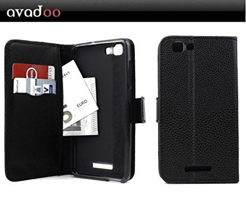 avadoo® Mobistel Cynus F10 Flip Leder Case in Schwarz mit Magnetverschluss und Dualnaht (Außenseite vernäht) Hülle Cover Tasche