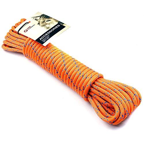 GM Klettern 8mm (5/16Zoll) Zubehör Seil 19KN Double Braid Pre Cut CE/UIAA, Fluoreszierendes Orange, 8mm(dia.) x 6.2m -